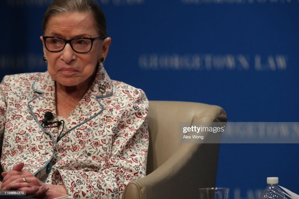 Supreme Court Justice Ruth Bader Ginsburg Attends Discussion At Georgetown Law : News Photo