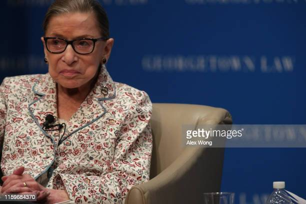 S Supreme Court Associate Justice Ruth Bader Ginsburg participates in a discussion at Georgetown University Law Center July 2 2019 in Washington DC...