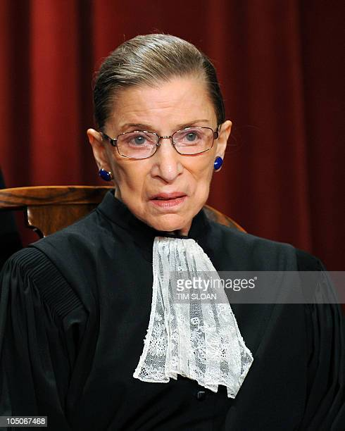 US Supreme Court Associate Justice Ruth Bader Ginsburg participates in the courts official photo session on October 8 2010 at the Supreme Court in...