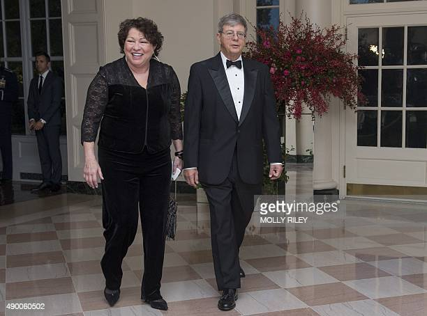 US Supreme Court Associate Justice Sonia Sotomayor and John Koeltl arrive for the State Dinner for President Xi of China at the White House on...
