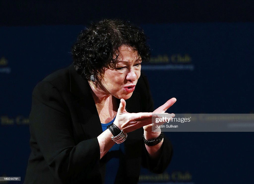 US Supreme Court Associate Justice Sonia Sotomayor blows a kiss to an audience member during a Commonwealth Club event at Herbst Theatre on January 28, 2013 in San Francisco, California. Sotomayor spoke in conversation with Stanford law school dean Mary Elizabeth Magill at the Commonwealth Club as she promotes her new book 'My Beloved World'