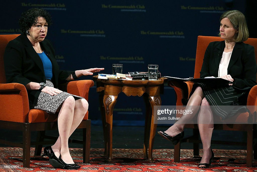 US Supreme Court Associate Justice Sonia Sotomayor (L) speaks during a Commonwealth Club event with Stanford law school dean Mary Elizabeth Magill (R) at Herbst Theatre on January 28, 2013 in San Francisco, California. Sotomayor spoke in conversation with Stanford law school dean Mary Elizabeth Magill at the Commonwealth Club as she promotes her new book 'My Beloved World'