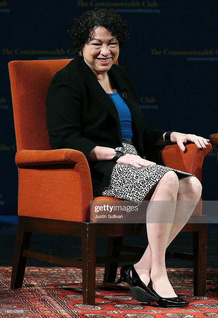 US Supreme Court Associate Justice Sonia Sotomayor speaks during a Commonwealth Club event at Herbst Theatre on January 28, 2013 in San Francisco, California. Sotomayor spoke in conversation with Stanford law school dean Mary Elizabeth Magill at the Commonwealth Club as she promotes her new book 'My Beloved World'