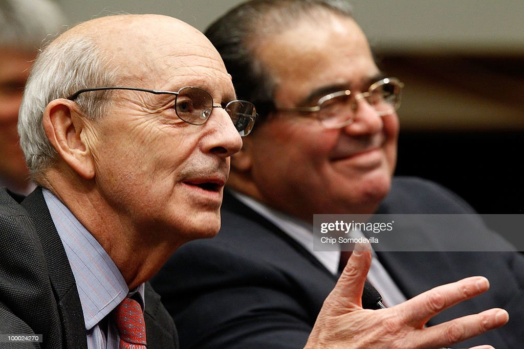 Supreme Court Associate Justice Stephen Breyer (L) and fellow Associate Justice Antonin Scalia testifiy before the House Judiciary Committee's Commercial and Administrative Law Subcommittee on Capitol Hill May 20, 2010 in Washington, DC. Breyer and Scalia testified to the subcommittee about the Administrative Conference of the United States.