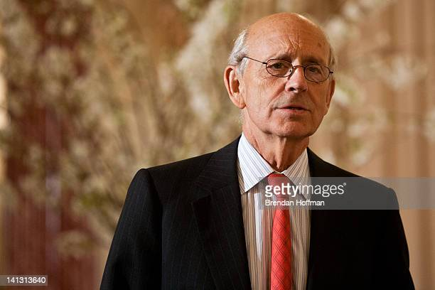 Supreme Court Associate Justice Stephen Breyer arrives for a lunch hosted in honor of Prime Minister David Cameron at the State Department on March...