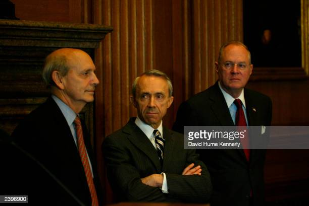 US Supreme Court Associate Justice Stephen Breyer David H Souter and Anthony M Kennedy attend a news conference at the Supreme Court to urge better...