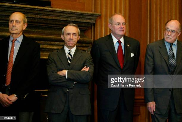 US Supreme Court Associate Justice Stephen Breyer David H Souter Anthony M Kennedy and Chief Justice William H Rehnquist attend a news conference at...