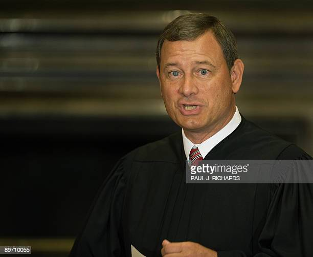 US Supreme Court by Chief Justice John G Roberts prepares to swear in Judge Sonia Sotomayor the first Hispanic justice on the Supreme Court in the...