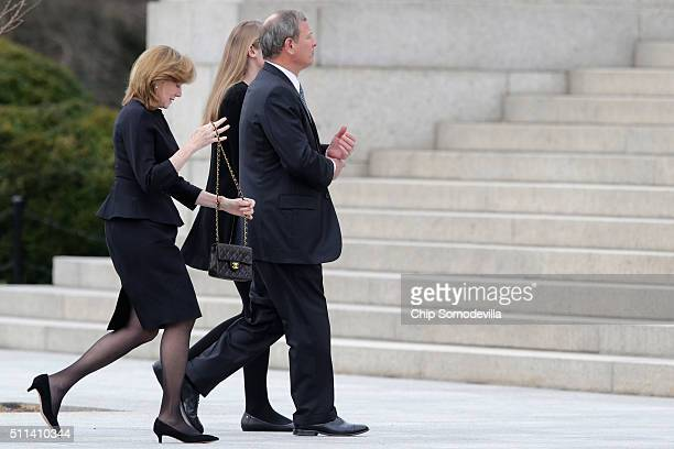 S Supreme Court Chief Justice John Roberts and his wife Jane Roberts and daughter Josie Roberts arrive for the funeral of Associate Justice Antonin...