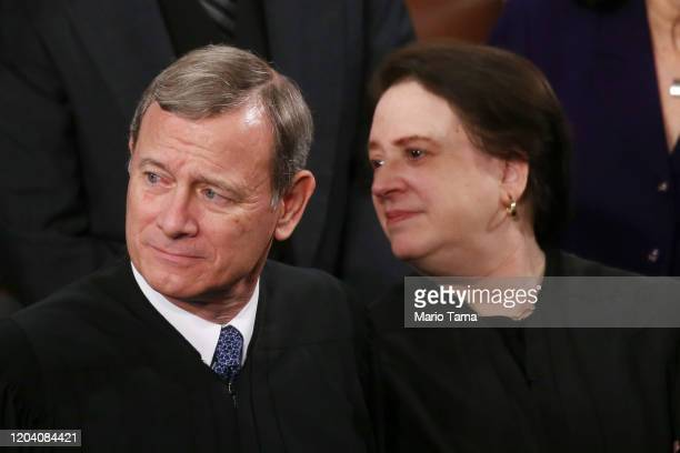 Supreme Court Chief Justice John Roberts and Supreme Court Justice Elena Kagan attend the State of the Union address in the chamber of the U.S. House...