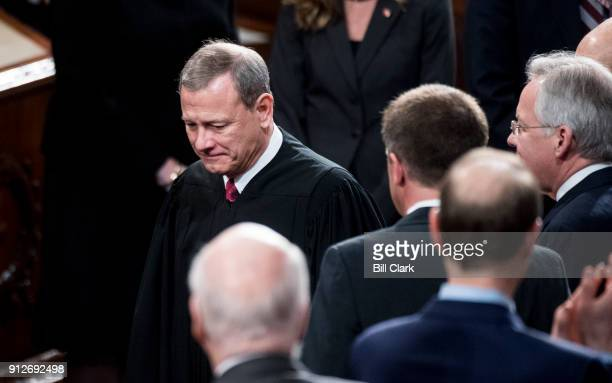 Supreme Court Chief Justice John Roberts arrives for President Donald Trump's State of the Union Address to the joint session of Congress in the...