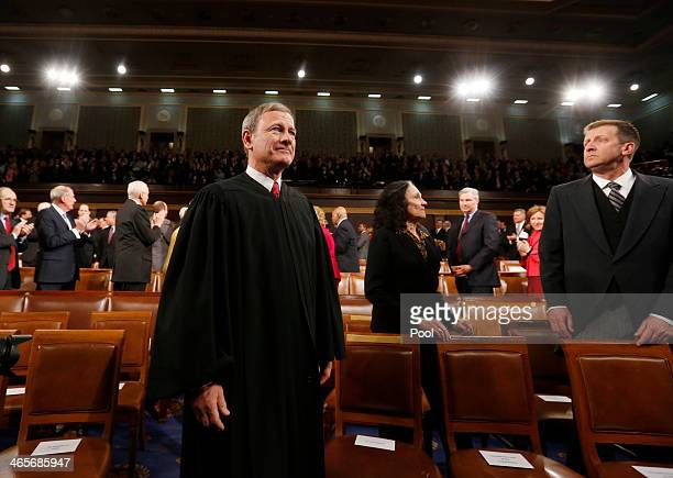 Supreme Court Chief Justice John Roberts arrives prior to President Barack Obama's State of the Union speech on Capitol Hill on January 28, 2014 in...