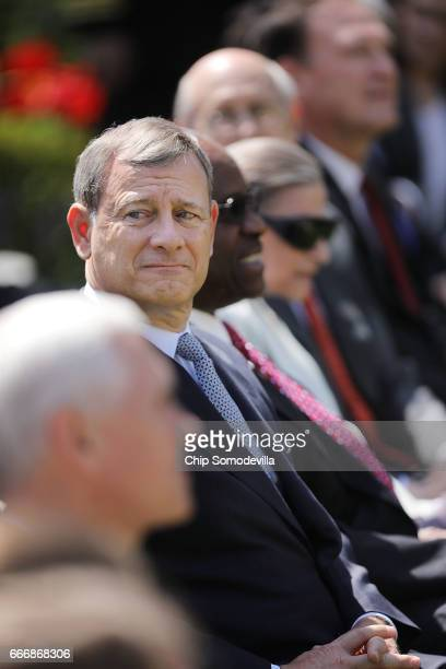 Supreme Court Chief Justice John Roberts attends a ceremony in the Rose Garden where Associate Justice Neil Gorsuch was administered the judicial...