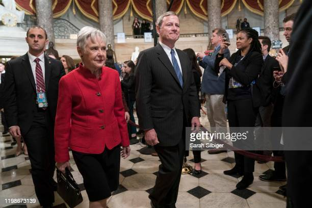 Supreme Court Chief Justice John Roberts walks through Statuary Hall to the House Chamber for the State of the Union on February 4, 2020 in...