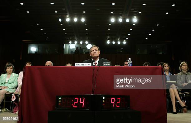 S Supreme Court Chief Justice Nominee John Roberts answers questions during his second day of confirmation hearings September 13 2005 in Washington...