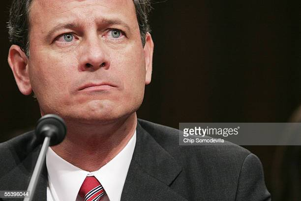 Supreme Court Chief Justice Nominee John Roberts answers questions during his second day of confirmation hearings September 13 2005 in Washington DC...