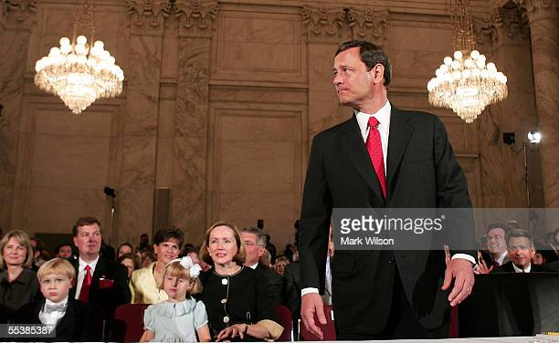 S Supreme Court Chief Justice nominee John Roberts arrives for his first day of confirmation hearings September 12 2005 at the historic Russell...