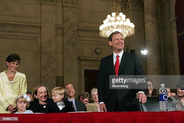 Supreme Court Chief Justice nominee John Roberts introduces his family Josie his daughter Jane his wife and Jack his son to the Senate Judiciary...