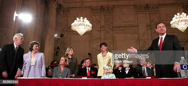 S Supreme Court Chief Justice nominee John Roberts introduces members of his family as he arrives for his first day of confirmation hearings...