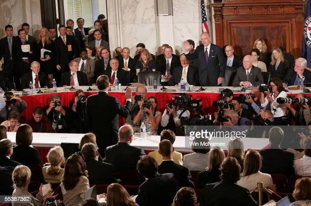 Supreme Court Chief Justice Nominee John Roberts is sworn in by Senate Judiciary Committee Chairman Sen. Arlen Specter before the Senate Judiciary...
