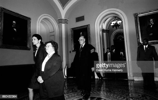 Supreme Court Chief Justice Rehnquist walks through the East Room of the Capital Building on his way to preside of the beginning of the Clinton...