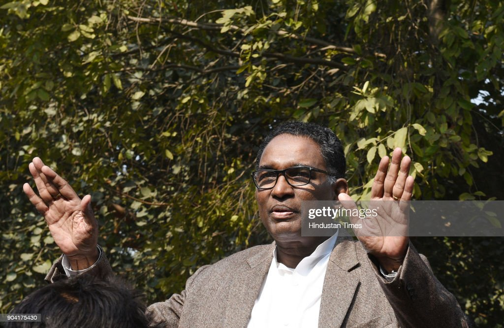 Supreme Court Judge J Chelameswar, addressing the media on January 12, 2018 in New Delhi, India. Four Supreme Court judges took the unprecedented step of publicly criticising chief justice Dipak Misra over the allocation of cases at a press conference on Friday, warning a lack of impartiality could imperil Indias democracy.