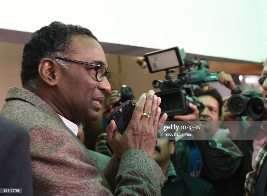 Supreme Court Judge J Chelameswar, after addressing the media on January 12, 2018 in New Delhi, India. Four Supreme Court judges took the unprecedented step of publicly criticising chief justice Dipak Misra over the allocation of cases at a press conference on Friday, warning a lack of impartiality could imperil Indias democracy.