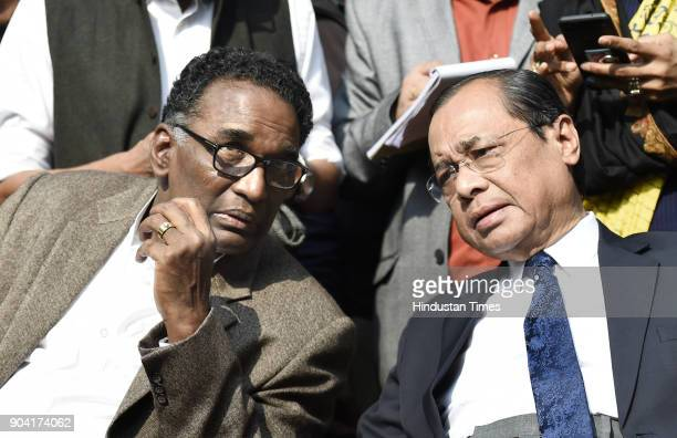 Supreme Court Judges J Chelameswar Ranjan Gogoi addressing the media on January 12 2018 in New Delhi India Four Supreme Court judges took the...