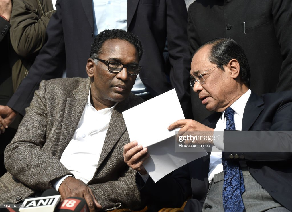 Supreme Court Judges J Chelameswar with Ranjan Gogoi addressing the media on January 12, 2018 in New Delhi, India. Four Supreme Court judges took the unprecedented step of publicly criticising chief justice Dipak Misra over the allocation of cases at a press conference on Friday, warning a lack of impartiality could imperil Indias democracy.