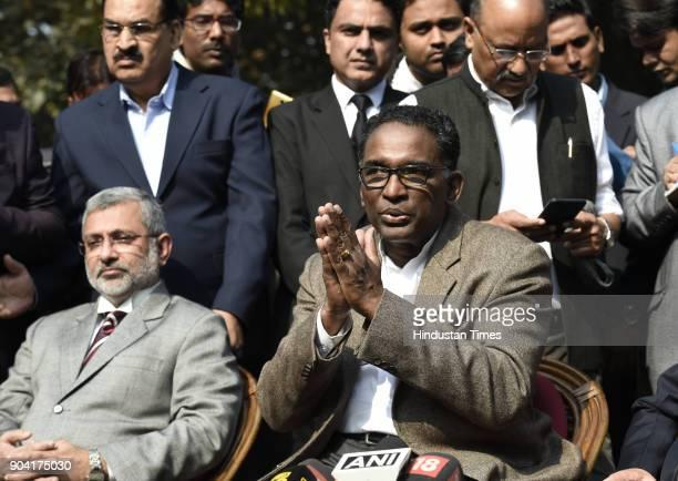 Supreme Court Judges Kurian Joseph J Chelameswar addressing the media on January 12 2018 in New Delhi India Four Supreme Court judges took the...