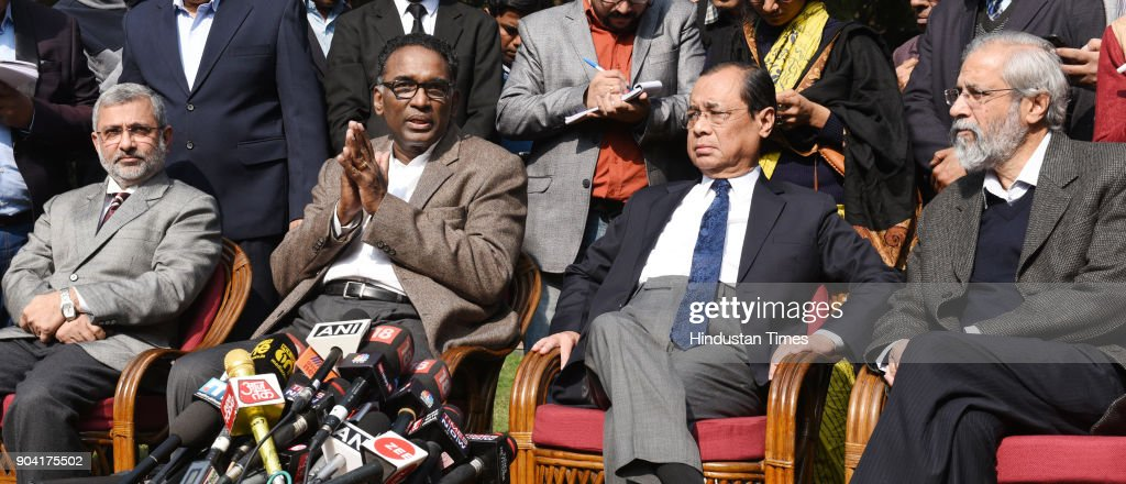 Supreme Court Judges ( L TO R ) Kurian Joseph, J Chelameswar, Ranjan Gogoi and Madan Lokur addressing the media on January 12, 2018 in New Delhi, India. Four Supreme Court judges took the unprecedented step of publicly criticising chief justice Dipak Misra over the allocation of cases at a press conference on Friday, warning a lack of impartiality could imperil Indias democracy.