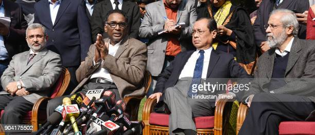 Supreme Court Judges Kurian Joseph J Chelameswar Ranjan Gogoi and Madan Lokur addressing the media on January 12 2018 in New Delhi India Four Supreme...