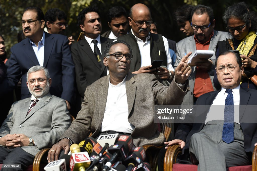 Supreme Court Judges Kurian Joseph, J Chelameswar, Ranjan Gogoi addressing the media on January 12, 2018 in New Delhi, India. Four Supreme Court judges took the unprecedented step of publicly criticising chief justice Dipak Misra over the allocation of cases at a press conference on Friday, warning a lack of impartiality could imperil Indias democracy.
