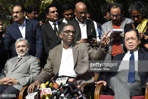 Supreme Court Judges Kurian Joseph J Chelameswar Ranjan Gogoi addressing the media on January 12 2018 in New Delhi India Four Supreme Court judges...