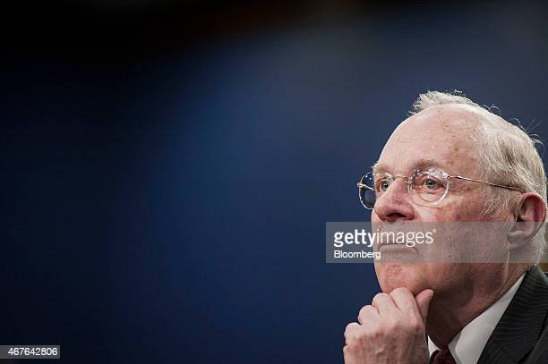 US Supreme Court Justice Anthony Kennedy pauses while testifying during a Financial Services and General Government Subcommittee in Washington DC US...