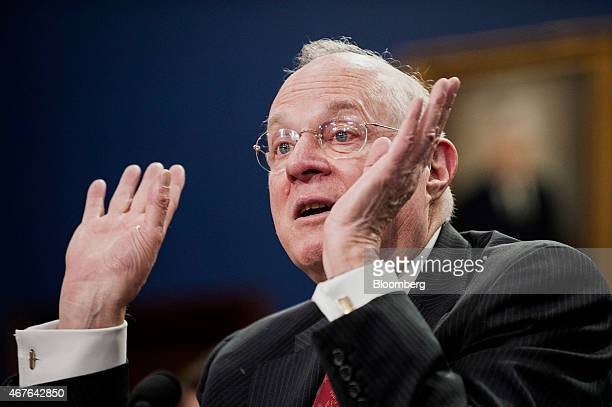 US Supreme Court Justice Anthony Kennedy testifies during a Financial Services and General Government Subcommittee in Washington DC US on Monday...