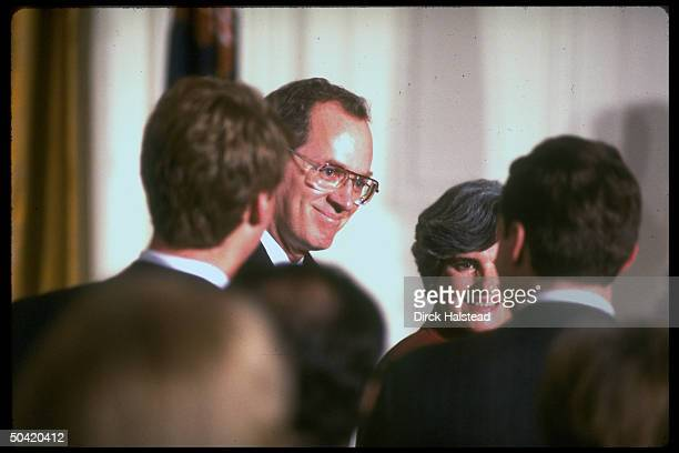 Supreme Court Justice Anthony Mary Kennedy w well wishers during his swearin ceremony