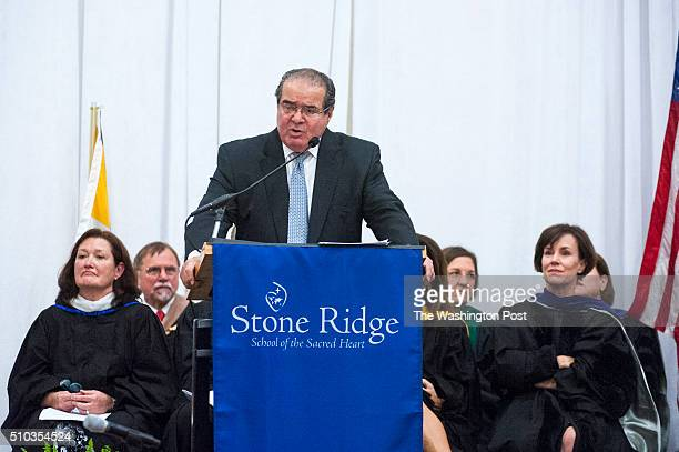 Supreme Court Justice Antonin Scalia delivers the commencement address at Stone Ridge School of the Sacred Heart where his granddaughter Megan...