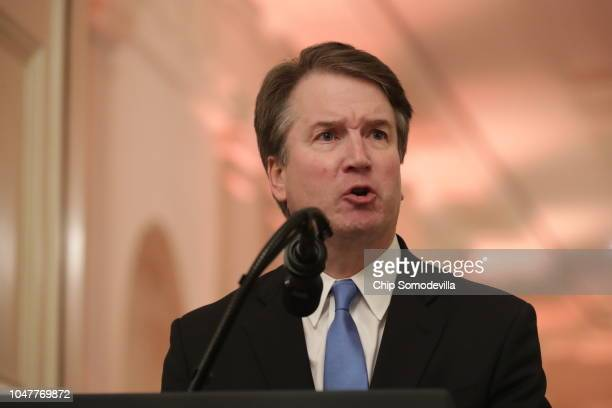 S Supreme Court Justice Brett Kavanaugh speaks at his ceremonial swearing in in the East Room of the White House October 08 2018 in Washington DC...