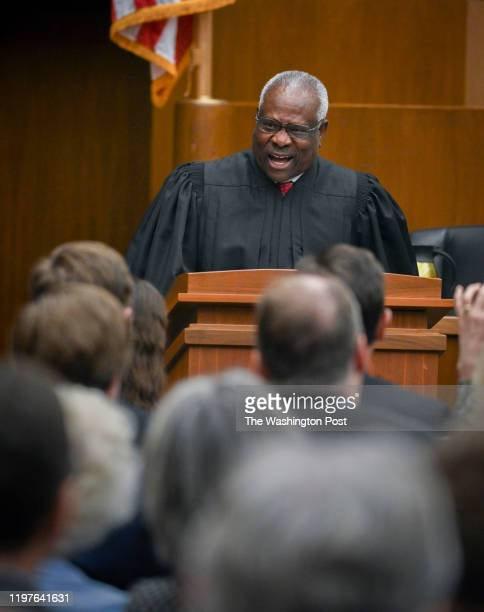 September 13: Supreme Court Justice Clarence Thomas makes remarks at the official Investiture ceremony for Judge Neomi Rao, US Court of Appeals, in...