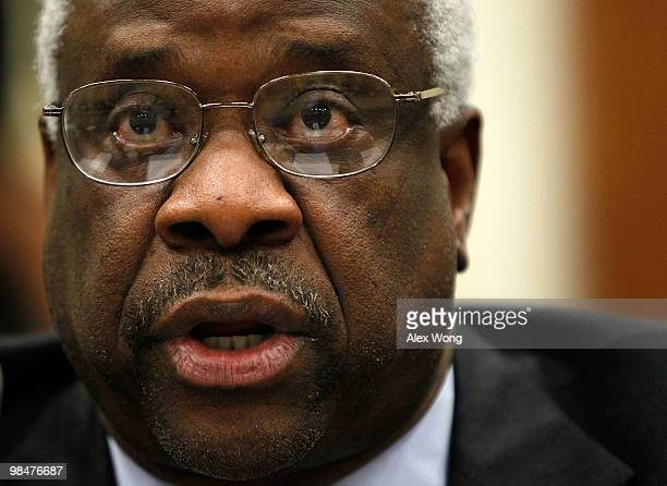 Supreme Court Justice Clarence Thomas testifies during a hearing before the Financial Services and General Government Subcommittee of the House...