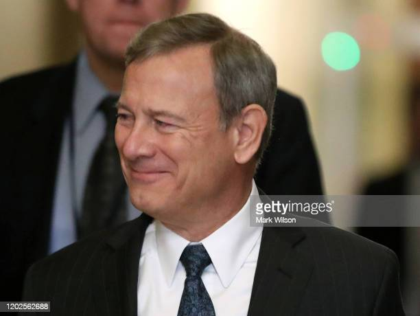 S Supreme Court Justice John Roberts arrives at the US Capitol for President Donald Trumps Senate impeachment trial on January 28 2020 in Washington...