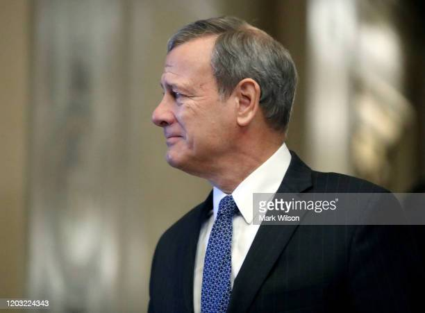 Supreme Court Justice John Roberts arrives at the U.S. Capitol for the Senate impeachment trial of U.S. President Donald Trump, on January 31, 2020...