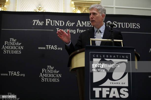 S Supreme Court Justice Neal Gorsuch speaks during an event hosted by The Fund for American Studies September 28 2017 at Trump International Hotel in...