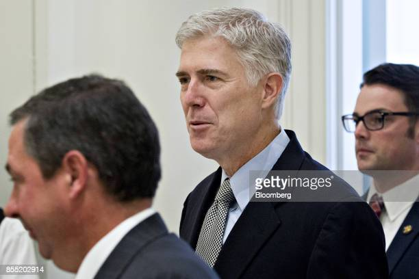 US Supreme Court Justice Neil Gorsuch arrives to deliver remarks at the Fund for American Studies luncheon in Washington DC US on Thursday Sept 28...