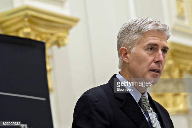 US Supreme Court Justice Neil Gorsuch delivers remarks at the Fund for American Studies luncheon in Washington DC US on Thursday Sept 28 2017 The US...