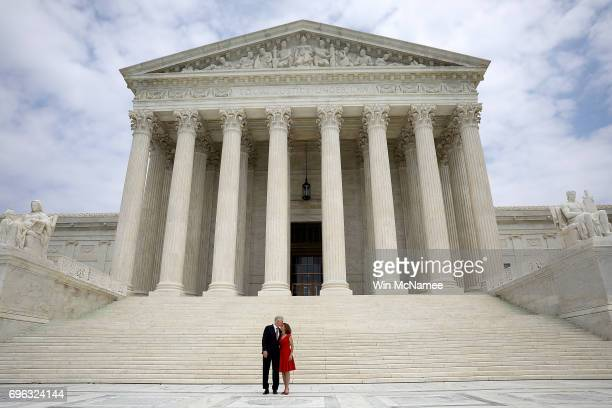 Supreme Court Justice Neil Gorsuch kisses his wife Marie Louise Gorsuch following his official investiture at the Supreme Court June 15 2017 in...