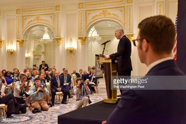 Supreme Court Justice Neil Gorsuch makes a keynote appearance at the Defending Freedom Luncheon at Trump International Hotel on Thursday September 28...