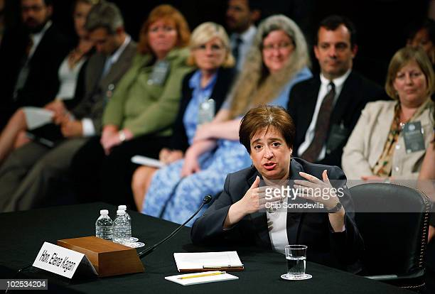S Supreme Court Justice nominee Elena Kagan answers questions from members of the Senate Judiciary Committee on the second day of her confirmation...