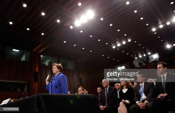 Supreme Court Justice nominee Elena Kagan is sworn in by Senate Judiciary Committee Chairman Sen. Patrick Leahy on the first day of her confirmation...